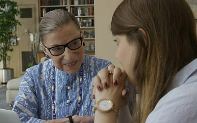 Ruth Bader Ginsburg with her granddaughter, Clara Spera, in a scene from the Oscar-nominated documentary 'RBG.' (Courtesy of Magnolia Pictures via JTA)