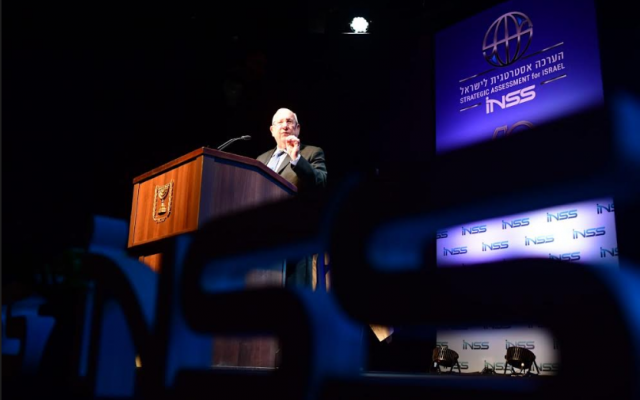President Reuven Rivlin speaks at the Institute for National Security Studies conference in Tel Aviv on January 28, 2019. (Kobi Gideon/GPO)