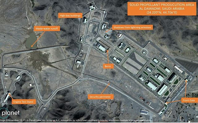 In this November 13, 2018, satellite image from Planet Labs Inc that has been annotated by experts at the Middlebury Institute of International Studies, a suspected Saudi ballistic missile base and test facility is seen outside of the town of al-Dawadmi, Saudi Arabia. (Planet Labs Inc, Middlebury Institute of International Studies via AP)