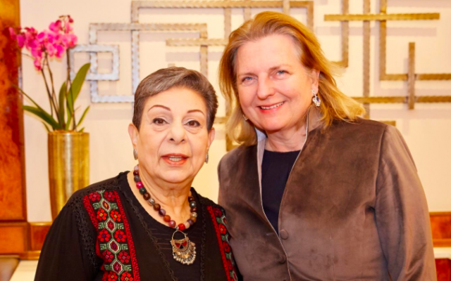 Top PLO official Hanan Ashrawi, left, and Austrian Foreign Minister Karin Kneissl in Vienna, January 1, 2019 (Twitter)