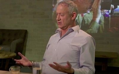 Israel Resilience Party chairman Benny Gantz speaks to Hadashot news in a February 2018  interview aired for the first time on January 3, 2019. (Screen capture/Hadashot news)