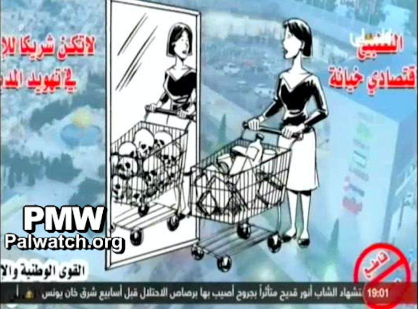Abbas's Palestine TV airs image equating shopping at Jerusalem mall