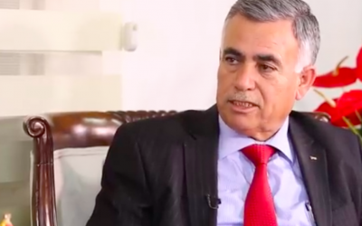 PA Local Governance Minister Hussein al-Araj (Screenshot:An-Najah Broadcasting Channel)