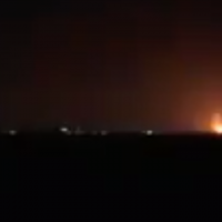 Illustrative: Explosions in the northern Gaza Strip from Israeli airstrikes light up the night sky on January 22, 2019. (Screen capture: Channel 13)