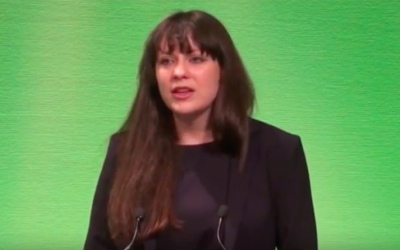 Amelia Womack, Deputy Leader of the UK's Green Party, seen in a campaign video from august 2016. (screen capture: YouTube)
