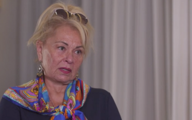 Roseanne Barr, interviewed during a visit to Israel, January 25, 2019 (Hadashot TV screenshot)