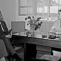 UN Secretary-General Dag Hammarskjöld (left) at a meeting with Israel's foreign minister Golda Meir, December 31, 1958. (UN Photo)