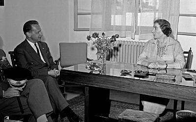 UN Secretary-General Dag Hammarskjöld (left) at a meeting with Israel's foreign minister Golda Meir, December 31, 1958. (UN Photo)