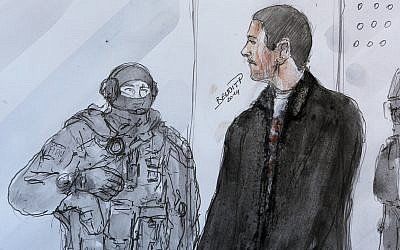An artists sketch depicts Mehdi Nemmouche, right, as he stands next to a police agent during his court appearance at Versailles Court of Appeal, June 12, 2014. (AP Photo/Benoit P., File)