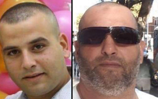 Ashraf Hassan Fadili (R) and Uday Abdelhai, murdered in a drive-by shooting in Tira on January 15, 2019. (Courtesy)