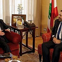 "US Undersecretary of State for Political Affairs David Hale, left, speaks during his meeting with Lebanese Prime Minister-designate Saad Hariri in Beirut, Lebanon, January 14, 2019. Hale said that the US will step up efforts to counter Iran's ""dangerous activities"" around the region including the financing and activities of proxy organizations such as Lebanon's Hezbollah. (AP Photo/Bilal Hussein)"