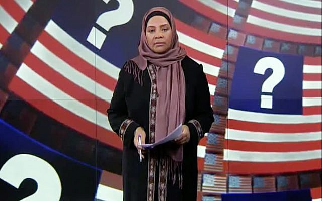 Marzieh Hashemi, American-born news anchor for Iran's state television broadcaster. (YouTube screenshot)
