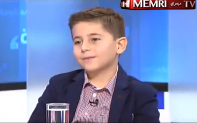 Lebanese chess player Mark Abou Deeb, 8, interviewed on Lebanon's OTV network on December 25, 2018. (Screenshot: Twitter)