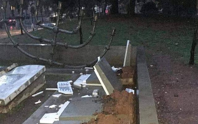 The vandalized Jewish cemetery monument in Thessaloniki. (Twitter)