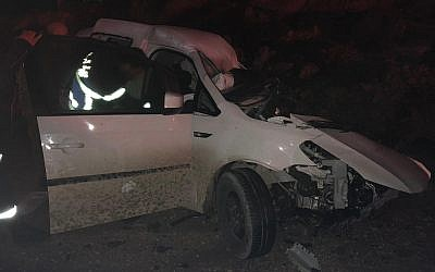 A damaged car that was in a three-vehicle collision near the southern West Bank settlement of Beit Hagai is seen on January 1, 2019. (Israel Police)