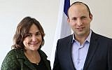 New Right candidate Caroline Glick (L) with party leader Naftali Bennett, January 2, 2019. (New Right)