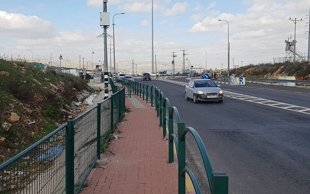 Tapuah Junction in the West Bank, where a Palestinian woman was shot in the leg after she refused to heed border guards' calls to stop on January 7, 2019. (Israel Police)