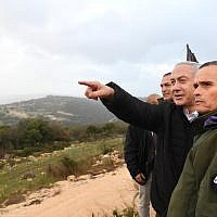 Prime Minister Benjamin Netanyahu tours northern Israel on January 13, 2019. (Haim Zach/GPO)