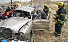 The scene of a car crash in the West Bank involving a classic 1960 Mercedes Benz in January 2019 (Courtesy of Judea and Samaria firefighting and rescue forces)