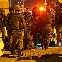 Soldiers at the scene of an attempted stabbing attack near the West Bank city of Nablus on January 21, 2019. (Israel Defense Forces)