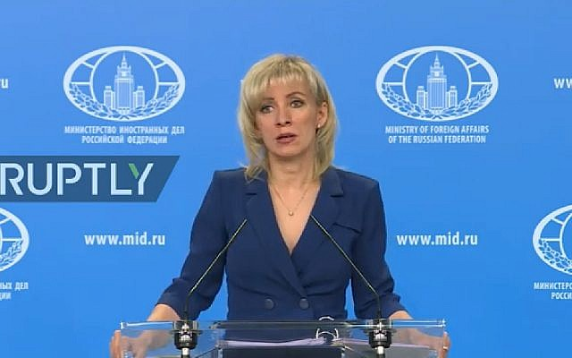 Russian Ministry of Foreign Affairs Spokesperson Maria Zakharova conducts her weekly press briefing on in Moscow on Wednesday January 22. (YouTube)