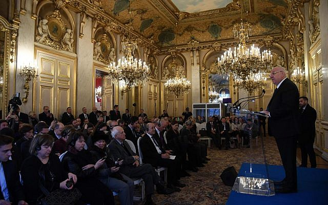 President Reuven Rivlin speaks at the opening of a museum exhibition dedicated to diplomats who saved Jews during the Holocaust in Paris, France, January 24, 2019. (Haim Zach/GPO)
