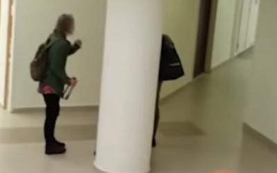 Dr. Carola Hilfrich's argument with a student in army uniform at the Hebrew University in Jerusalem (video screenshot)