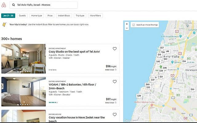 Tel Aviv properties search page for AirBnB. Tel Aviv will raise taxes for short-term accommodation provided by services like Airbnb to match an increase in long-term rentals. (Screen capture, AirBnB)