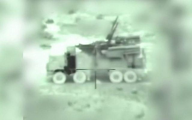 A Syrian mobile anti-aircraft battery vehicle as seen through the targeting camera of an incoming Israeli missile, in footage released by the IDF of its early morning strikes in Syria on January 21, 2019. (IDF)