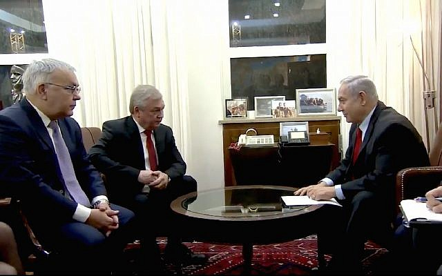 Prime Minister Benjamin Netanyahu holds talks on Iran and Syria with Russian President Vladimir Putin's special envoy for Syrian affairs, Alexander Lavrentiev and Russian Deputy Foreign Minister Sergey Vershinin in Jerusalem, January 29, 2019.