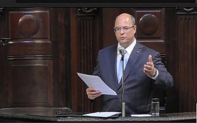 Wilson Witzel is inaugurated as governor of Rio De Janeiro on January 2, 2019 (screen capture: YouTube)