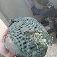 The helmet of an IDF officer that was hit by a sniper bullet during a riot along the Gaza border on January 22, 2019. (Courtesy)