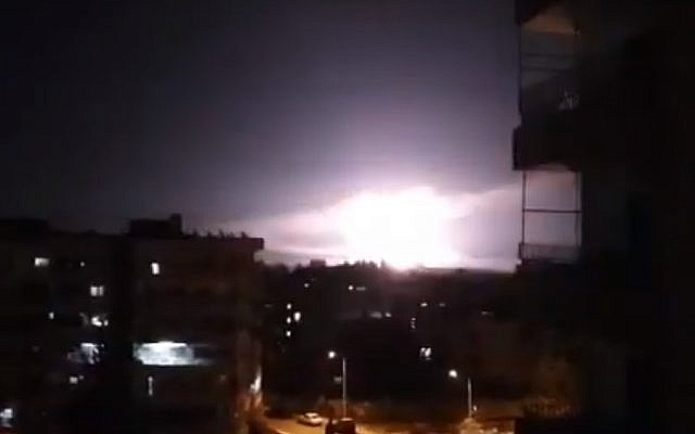 An explosion, reportedly during Israeli airstrikes near Damascus, Syria, on January 21, 2019. (screen capture: YouTube)