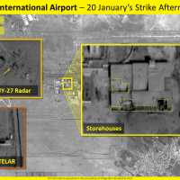 Satellite images purporting to show damage to Damascus International Airport in January 20 raids by Israel,  released by ImageSat International, on January 22, 2019 (ImageSat International)