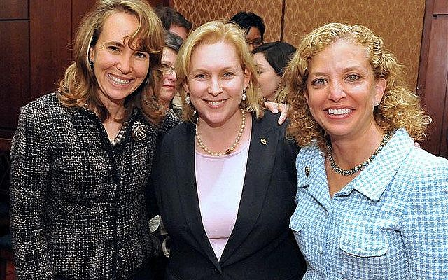Kirsten Gilli Nd Center Is Flanked By Reps Gabrielle Giffords Left And Debbie W Erman Schultz At A Capitol Hill Reception For Jewish American