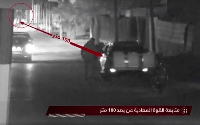 Screenshot from footage aired by Hamas allegedly showing Israeli special forces being stopped on November 11, 2018 as part of an operation in the Gaza Strip.