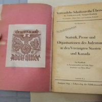 "A 1944 report by German linguist Heinz Kloss, titled ""Statistics, Media, and Organizations of Jewry in the United States and Canada"" and previously owned by Adolf Hitler, acquired in January 2019 by Library and Archives Canada. (Library and Archives Canada)"