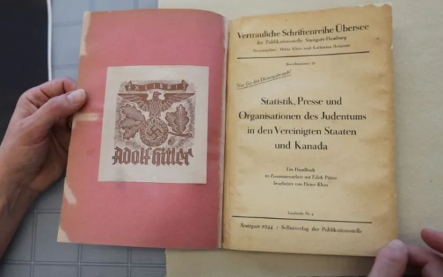 """A 1944 report by German linguist Heinz Kloss, titled """"Statistics, Media, and Organizations of Jewry in the United States and Canada"""" and previously owned by Adolf Hitler, acquired in January 2019 by Library and Archives Canada. (Library and Archives Canada)"""