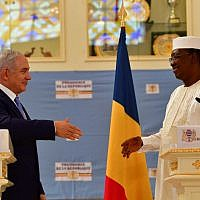 Prime Minister Benjamin Netanyahu, left, and Chad's President Idriss Déby speak at a press conference at the presidential palace in N'Djamena, Chad on January 20, 2018. (Kobi Gideon/GPO)