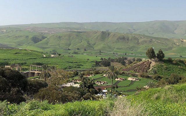 A view of Naharayim and the Isle of Peace, Israeli-Jordanian border, January 26, 2019 (Amanda Borschel-Dan)