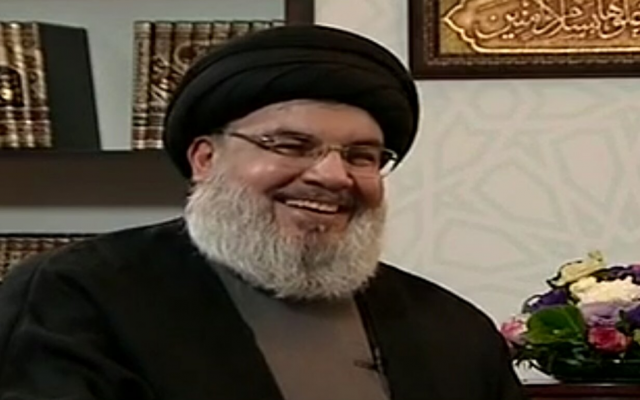 Hezbollah leader Hassan Nasrallah during an interview with al-Mayadeen, January 26, 2019 (screen capture)