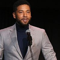 Jussie Smollett speaks at the Children's Defense Fund California's 28th Annual Beat The Odds Awards at the Skirball Cultural Center in Los Angeles, December. 6, 2018. (Gabriel Olsen/Getty Images via JTA)