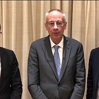 Lawyers for Prime Minister Benjamin Netanyahu, (from left) Tal Shapira, Navot Tel Zur, and Amit Hadad, after meeting with Attorney General Avichai Mandelblit on January 21, 2019. (Mivzak news screenshot)