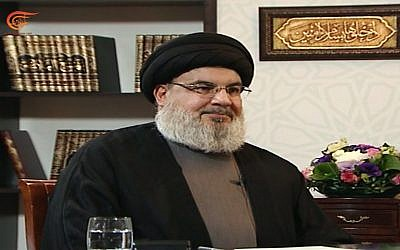 Hezbollah terror group leader Hassan Nasrallah is interviewed on the al-Mayadeen Lebanese television channel, January 26, 2019 (Screen capture)