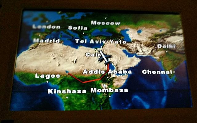 The flight path of Benjamin Netanyahu's plane over South Sudan, as seen on a screen inside Netanyahu's plane, January 20, 2019. (Rraphael Ahren)