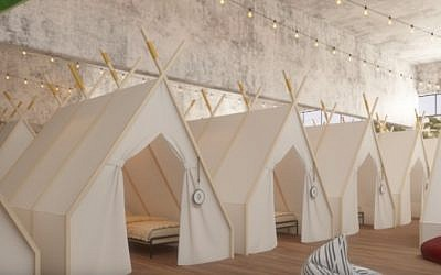 The planned tents on the second floor of the Spot Hostel. (Courtesy, Spot Hostel)
