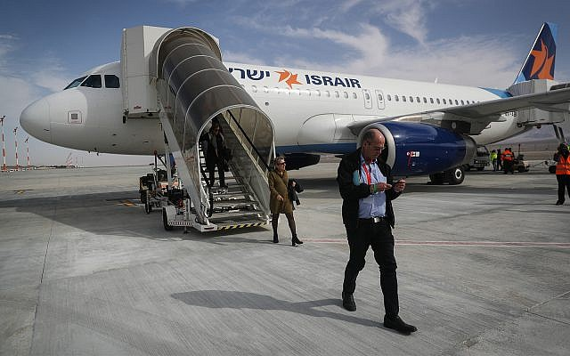 An Israir plane lands at the new Ramon Airport, named in memory of Ilan and Asaf Ramon. January 21, 2019. (Yonatan Sindel/Flash90)