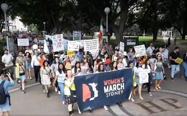 Thousands of protesters attend the Women's March in Sydney's Hyde Park on January 20, 2019. (screen capture)