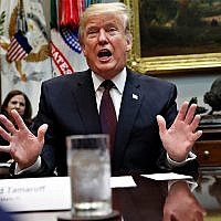 US President Donald Trump speaks during a healthcare roundtable in the Roosevelt Room of the White House, January 23, 2019, in Washington. (AP Photo/Jacquelyn Martin)