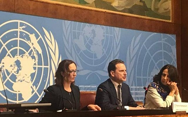 UNRWA Commissioner-General Pierre Krähenbühl (center) calls for a total of US$ 1.2 billion to fund the Agency 's services for Palestinian refugees across the Middle East during press conference at the United Nations in Geneva on 29 January 2019. (Maria Mohammedi/ UNRWA)
